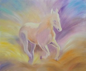 horse painting demo of commissioned work